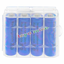 4 psc AA 3000mAh 1.2V Ni-MH Blue Color Rechargeable Battery Cell + Case