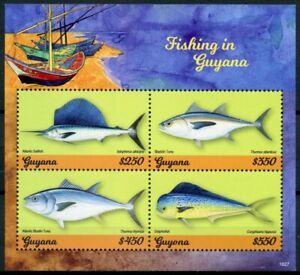 Guyana 2018 MNH Fishing Tuna Sailfish Dolphinfish 4v M/S Fish Fishes Stamps