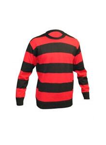 Childrens Red & Black Denis Stripe Knitted Kids Book Week Jumper Size 7-12 Years