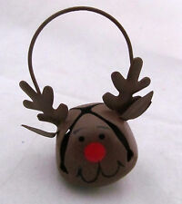 Rudolph Reindeer Jingle Bell Country Primitive Miniature Christmas Tree Ornament