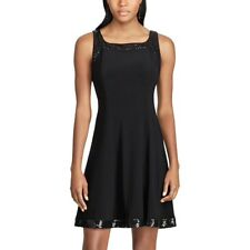 NEW Womens Chaps Black Sequined Jersey Dress Sleeveless M, L, XL FREE SHIPPING