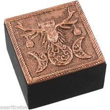PAGAN BRONZE METAL BOX TRINKET BOX Wicca Witch Pagan Goth TRIPLE MOON HORNED GOD
