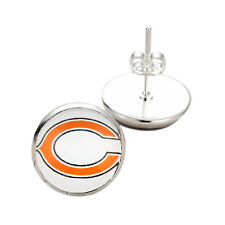 Silver Stud Post Earrings Womens Jewelry Chicago Bears Nfl Glass Charm Team Logo
