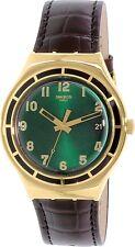Swatch Men's Irony YGG406 Gold Leather Quartz Watch