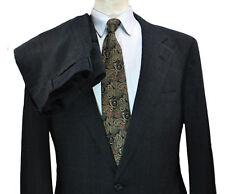 Nordstrom Glen Plaid Lightweight Tweed Suit 42L 36x33 Long Dark Grey Blue Wool