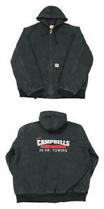 CARHARTT Quilt Lined Active Jacket | Large | Workwear Hood Duck Canvas Coat Zip