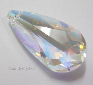 1x SWAROVSKI 6100 CLEAR CRYSTAL AB 24mm TEARDROP  PENDANT