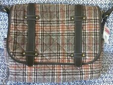 Rosetti Crossbody Shoulder Messenger Bag Quilted Plaid Wool Blend Vinyl Flap New