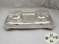 RARE GEORGE III HM STERLING SILVER 4 FOOTED INKSTAND 1797
