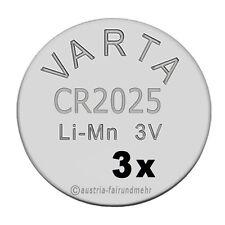 """""""3x CR2025 Lithium Batterien Knopfzellen 3 Volt VARTA"""
