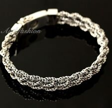Mens Sterling Silver Bracelet Hand Crafted Woven 5 Ropes Chain Hip Hop Solid b15