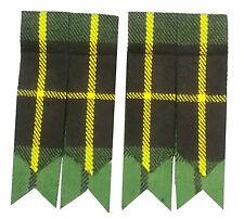 Men's Highland Scottish Kilt Hose Sock Flashes Hunting Wallace Tartan Garter