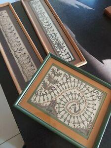 Three Original Warli Tribal Ritual Folk Art Paintings  White Brown India