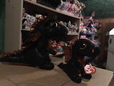 Deal: Merlin Black/Orange Winged Dragon Beanie Boo & Buddy Set! *Exclusive* VHTF