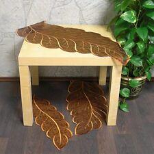 Tischläufer BLATT 40x90 cm braun oval moderner Organza Aufleger Deckchen Herbst