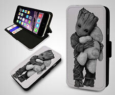 Cute Autism Baby Groot Guardians Of The Galaxy Wallet Leather Phone Case Cover