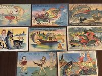 Lot of 8 Vintage Linen ~ Fish~Fishing~Humor~Comic ~Funny Postcards-b709
