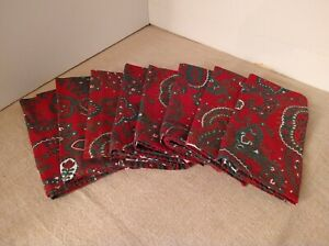 8 Waterford Red Paisley Holiday Christmas Dinner Napkins