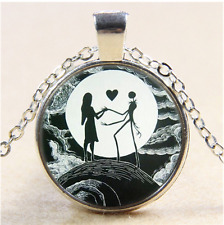 Jack and sally love Photo Cabochon Glass Tibet Silver Pendant Necklace