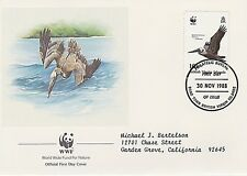 VIRGIN ISLANDS 1988 4 FIRST DAY COVER - PELICANS - WWF
