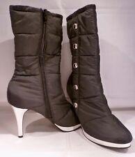 NWOB BUMPER QUILTED BLACK PLATFORM Boots SILVER Trim Stiletto Heel Size 7 1/2