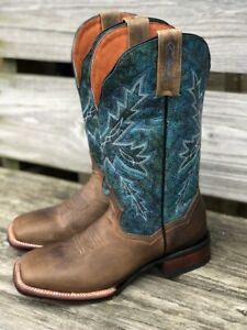 Dan Post Women's Brown & Blue Pasadena Square Toe Western Boots DP4571