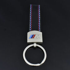 New Car styling Leather Belt Chrome Keyring Keychain Key Chain For BMW M Sport e