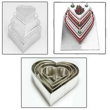 Set of 4 Tier Heart Multilayer Birthday Wedding Anniversary Cake Tins / Pans