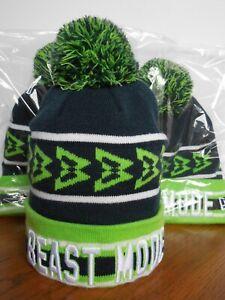 Seattle Seahawks Marshawn Lynch BEAST MODE Seattle Skyline New Era Knit Beanie