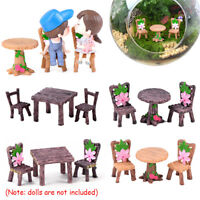 3pcs/Set Miniature Resin Table Chair Dollhouse Craft Fairy Garden Bonsai Decor