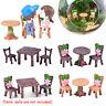 3pcs/Set Miniature Resin Table Chair Dollhouse Craft Fairy Garden Bonsai Decor