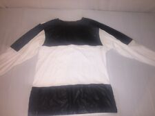 MENS ENYCE LEATHER LONG SLEEVE LEATHER BLACK/WHITE PATCHWORK SIZE L