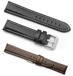 MENS BUFFALO GRAIN LEATHER WATCH STRAP BARS INCLUDED BLACK BROWN 18MM-22MM