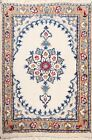 Vintage IVORY Geometric Nain Area Rug Hand-knotted Oriental Carpet 2'x2' Square