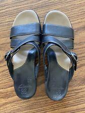 Clarks Women's 7 Strappy Wedge Sandals Slip On Slide Buckle Leather 33745 Black