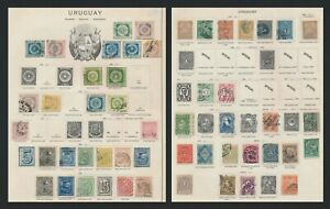 URUGUAY STAMPS 1858-1895 2 OLD ALBUM PAGES OF GENUINE & FORGERIES