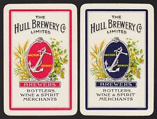 2 Single VINTAGE Swap/Playing Cards ADV HULL ANCHOR BARLEY EARS Beer/Brewery