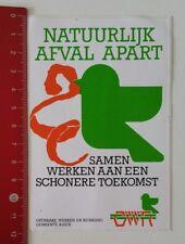 Aufkleber/Sticker: Openbare Werken Reiniging - Natuurlijk Afval Apart (190217103