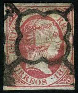 ESPAÑA 1851. Isabel II. 5 reales rosa. Usado. Edifil 9.