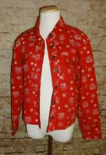 Appleseed's Red Bandana Jean Jacket Cotton Women's Juniors Size Petite Small S