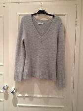 New Look Grey Fluffy Furry Hairy Knitted Wooly V-Neck Jumper, Size 18