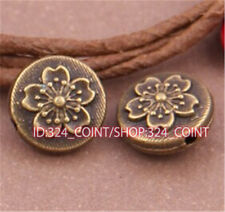P477 15pc Antique Bronze Charm Flowers String Spacer Beads accessories wholesale
