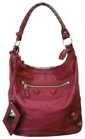$1495 Balenciaga Giant Day Grenat Red Leather Shoulder Hobo Hand Bag Authentic