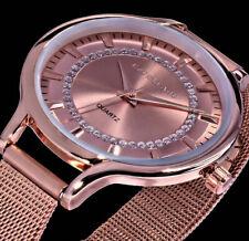 Excellanc Uhr Damen Armband Uhr Mesh Rose Gold Farben Strass M55