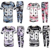 NEW Girls New York Camouflage Tracksuit Camo Top & Leggings Pink Purple Age 7-13