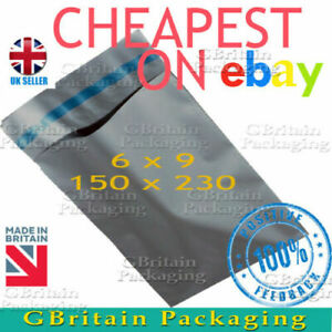 """6 x 9"""" Grey Mailing Bags Strong Parcel Postage Plastic Poly Self Seal Mailers"""
