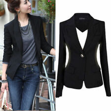 LADIES SMART FITTED BLAZER WOMENS SUIT JACKET CASUAL OFFICE TOP UK 6-18
