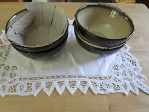 """SET OF 4  PFALTZGRAFF PAINTED POPPIES CEREAL BOWLS BROWN 6 1/8"""""""