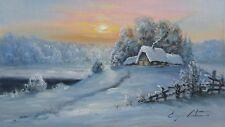 BEAUTIFUL ORIGINAL SNOWY WINTER SUNSET CABIN LANDSCAPE OIL PAINTING ART