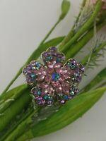 Vintage Rhinestone Flower Brooch Pin Pastel Pink Purple Blue Silver Tone